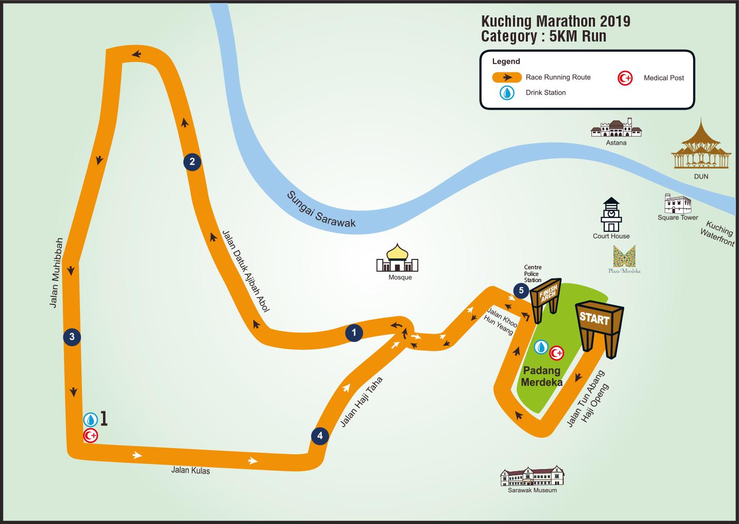Kuching Marathon route