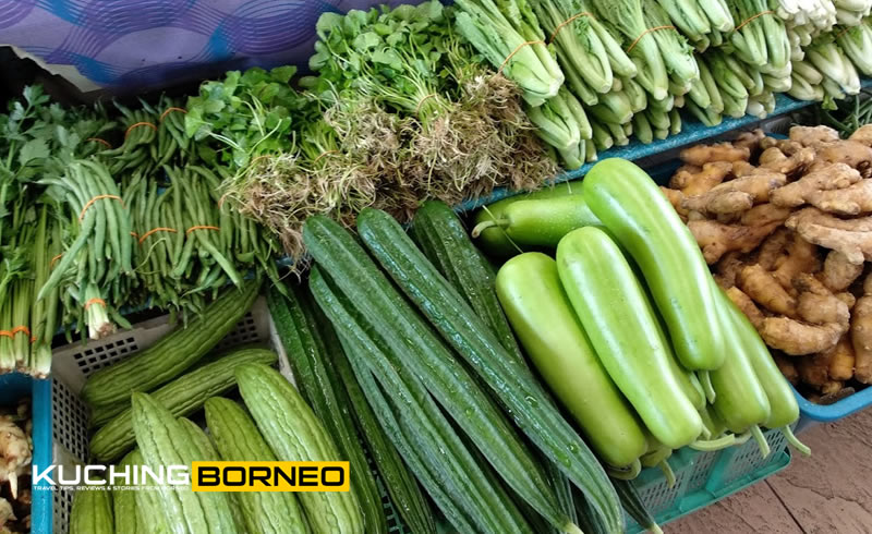 Jungle produce and vegetables at the Satok weekend Market
