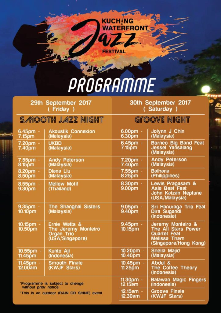 Kuching Waterfront Jazz Festival 2017 schedule