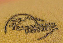 Damai Beach Resort logo in sand