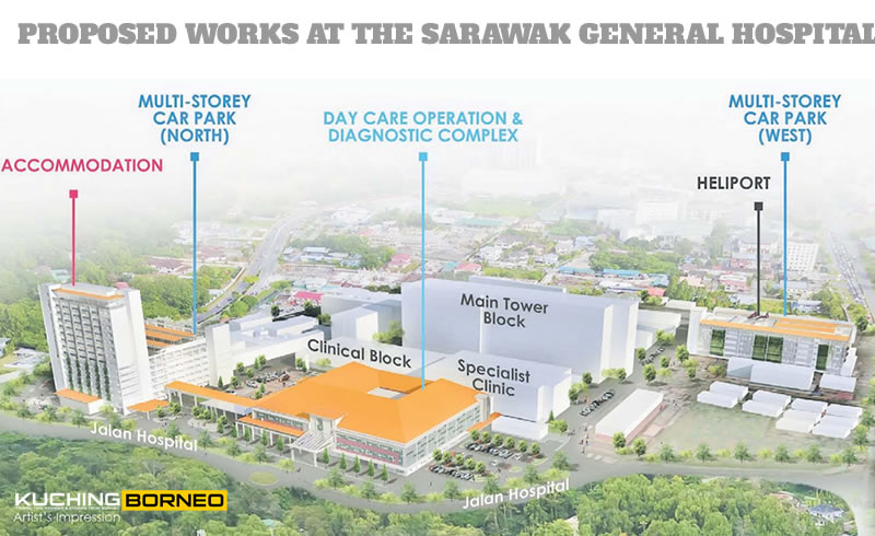New buildings at the Sarawak General Hospital