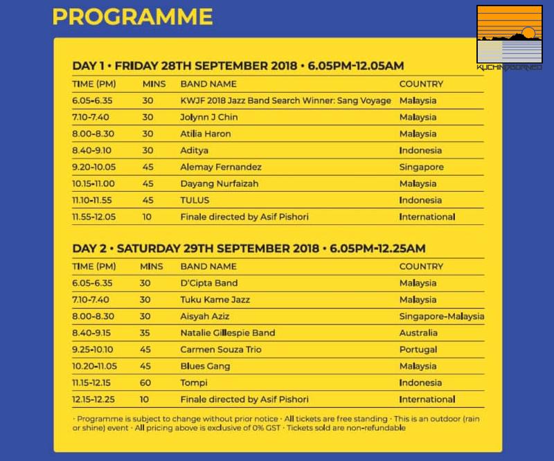 full KWJF 2018 schedule